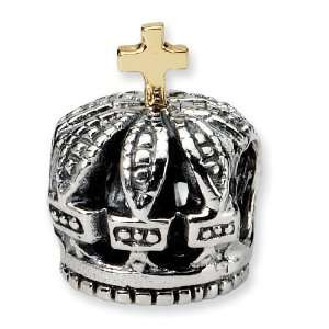 Sterling Silver Reflection Beads Collection Crown Bead Charm with 14k