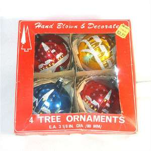 Box Poland Large Glitter Church Scene Glass Christmas Ornaments