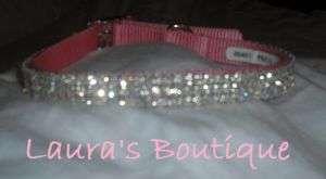 Pink Swarovski Crystal Rhinestone MED Dog Collar 14 16