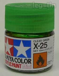 Tamiya 81525 Acrylic Paint Mini X 25 Clear Green (10ml)