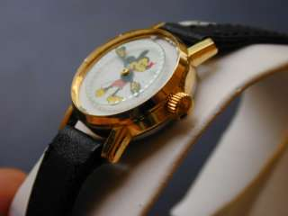 Vintage Gold Tone Mickey Mouse Mechanical Watch Disney