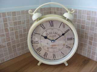 Shabby Vintage Style Chic French Distressed Cream Mantel Clock