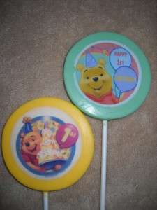 Chocolate Edible Decal 3 Winnie Pooh Tigger Piglet Eeyore Lollipops