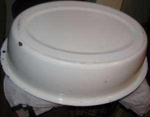 Vintage Enamel Granite Ware White Black Large Oval Laundry Basin Baby