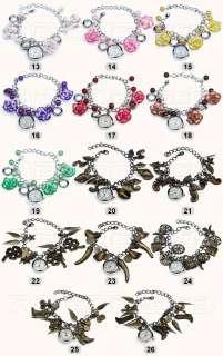 New Lady Jewelry Beads Flower Retro Bracelet Cuff Wrist Watch Gift