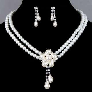 cultured Baroque white pearl set flower pendant necklace dangle