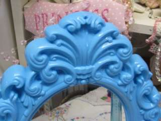 ORNATE AQUA WALL MIRROR DECOR~Shabby~Cottage~Chic