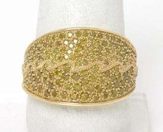STUNNING 14K GOLD FANCY YELLOW DIAMONDS WIDE BAND RING