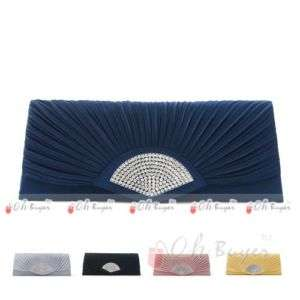 pleated Wedding Evening Purse rhinestone Clutch bag