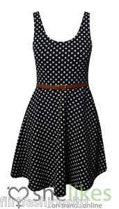 Womens Skater Dress Ladies Polka Dots Black White Belted Pleated Party
