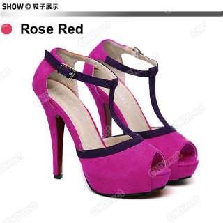 Lady/Womens Luxury High Heels Platform T Style Sandals Suede Peep Toe