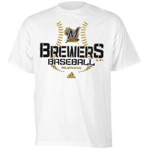 adidas Milwaukee Brewers Youth Swift Sweep T Shirt   White