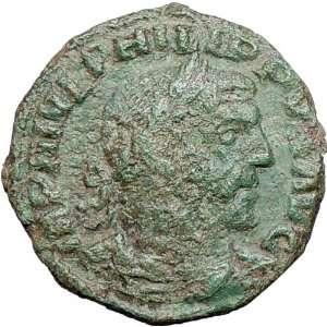 248AD Sestertius Ancient Roman Coin Viminacium Legions Bull Lion Rare