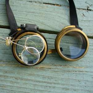 Steampunk Goggles Glasses cyber lens goth D Gold clear