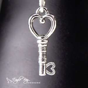 Silver Heart Key Dangle Charms Fit Pandora® Jewelry Bracelets