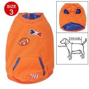 Como Doggy Football Bone Pattern Blue Lining Orange Fleece Coat Size 3