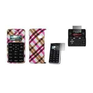 LG enV2 VX9100   Premium Hot Pink Plaid Design Snap On Cover Hard Case