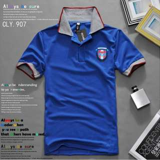 Badge short sleeve polo Shirt Casual Slim fit T shirts Tops