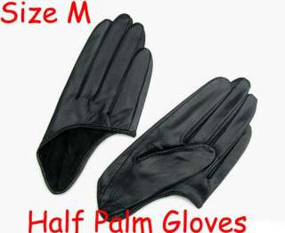 Fashion 5 Fingers Half Palm Leather Gloves Black Size M