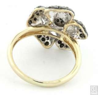 14K GOLD 1.19CT WHITE/BLACK DIAMOND CLUSTER FLOWER COCKTAIL RING SIZE