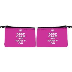 Knight Keep Calm and Party On   Pink Rose Color Scuba Foam Coin Purse