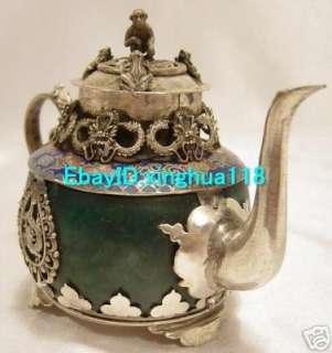 Rare Vintage Tibetan Silver Dragon & Phenix Teapots
