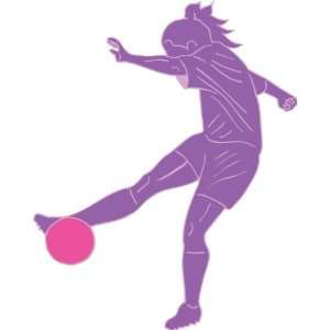 Purple Girls Soccer Removable Wall Decal Stickers