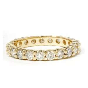 Real 1.50CT Round Diamond Eternity Ring Yellow Gold Wedding Band