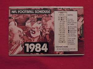 1984 NFL Pro Football Slide Schedule Sponsor 1 Day Paint & Body