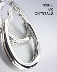 CLASSIC 18kt White Gold Plated Inside Outside CZ Crystals OVAL Hoop