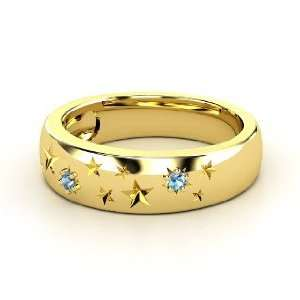 Written in the Stars Ring, 18K Yellow Gold Ring with Blue