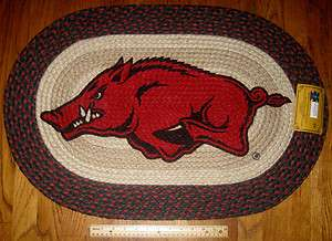 NEW..Arkansas Razorback 20 x 30 Oval Braided Jute Rug..Go Hogs