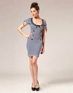 Wheels & Dollbaby Fille De Marin Sailor Dress with Striped Cap Sleeves