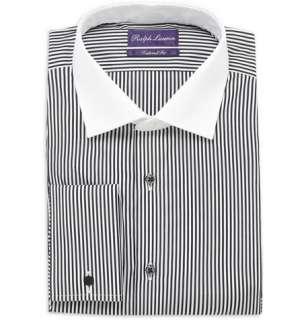 Ralph Lauren Purple Label Striped Contrast Collar Double Cuff Shirt