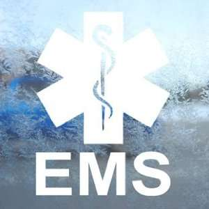 EMS Emergency Medical Services White Decal Window White Sticker