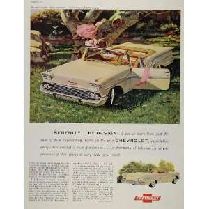 1958 Ad Yellow Chevrolet Impala Convertible Chevy Car