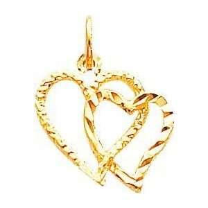 10K Gold Double Heart Charm Diamond Cut Jewelry