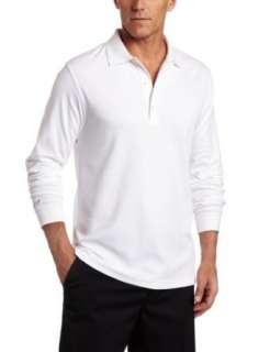 Greg Norman Mens Long Sleeve Heathered Interlock Polo Clothing