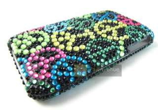 COLORFUL RAINBOW PEACE SIGN Diamond Bling Cover Case iPhone 3G 3Gs