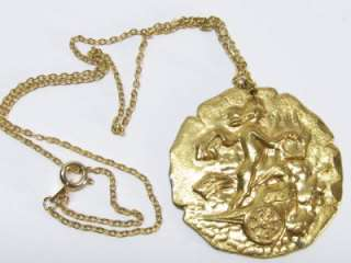 Gold Plated Pendant Necklace Harp Chariot Chain 16