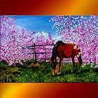 spring horse blossom cherry trees oil painting art original inna