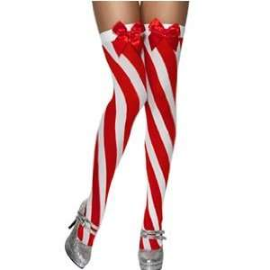 Candy Stripe Thigh High Stockings, Red and White [Toy