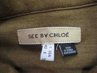 See By Chloe Brown Long Sleeve 1/2 Button Pleated Chest Dress 6