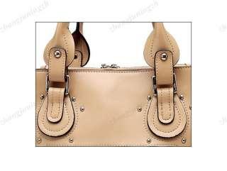 Real Genuine Leather Purse Shoulder Bag Handbag Tote Satchel Rivet