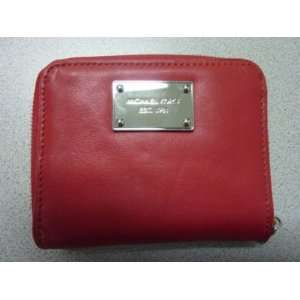 Michael Kors Genuine Leather Zippered Wallet Red NWT   MLB Wallets