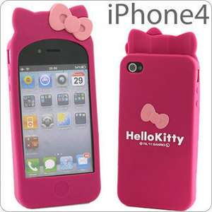 Cute Gift Hello kitty cat ears pink bow iphone 4 4s rubber silicone