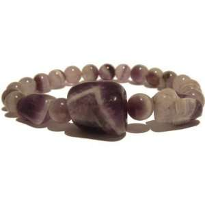 Amethyst Bracelet 11 Stretch Chevron Purple Nugget Orb Crystal Healing