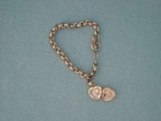 Heart Locket Charm Bracelet Sterling Silver 925 17.7 gr