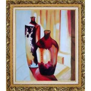Two Glass Vases Oil Painting, with Ornate Antique Dark Gold Wood Frame
