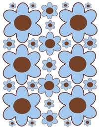 FLOWER BLUE BROWN ALPHABET LETTER NAME STICKERS DECALS